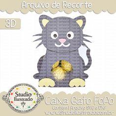 Caixa Gato Fofo, Caixa, Gato, Fofo, Cute Cat Box, Cute, Cat, Box, pet, animal, zoo, farm, projeto 3d, boxes, box, arquivo de recorte, caixa, 3d,svg, dxf, png, Studio Ilustrado, Silhouette, cutting file, cutting, cricut, scan n cut.