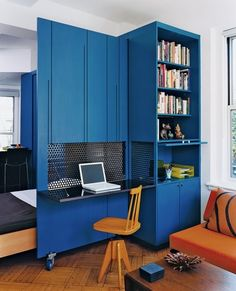 Home office built ins Tiny Spaces, Small Apartments, Work Spaces, Home Office Inspiration, Blue Home Offices, Upper West Side Apartment, Office Built Ins, Small Space Living, Space Saving