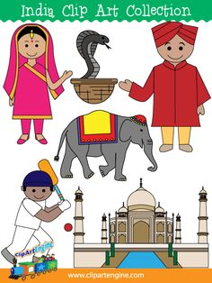 The royalty free vector graphics included are a cobra, cricket player, Indian elephant, Indian man, Indian girl, and the Taj Mahal.
