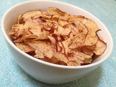 Apple Chips ~ Quick & Easy snack to crumble on your oatmeal, cereal or mix in with your trail mix.    www.creativekitchenadventures.com