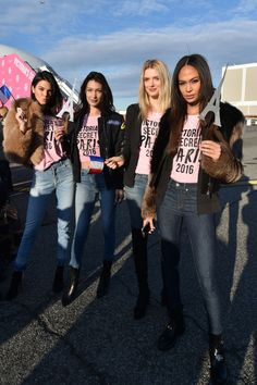 27 November Fellow Victoria's Secret models – including Kendall Jenner, Bella Hadid, Lily Donaldson and Joan Smalls posed in jeans and T-shirts before they boarded their plane in New York.