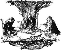 Arthur Rackham: the Norns weaving
