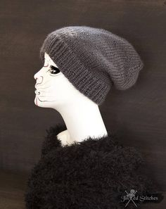 ae1a1dcd341 Items similar to Unisex slouchy knitted beanie hat gray - Slouchy winter  knit hat acrylic rock alternative urban street style oversized grey  handmade gift ...