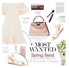 Spring Trend: Off-Shoulder Dresses by leniastuti on Polyvore featuring polyvore fashion style Valentino Fendi Anastasia Beverly Hills White Label Gianvito Rossi clothing