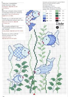 Gallery.ru / Фото #2 - Сине-зелёное: 4 схемы - frango Basic Embroidery Stitches, Hand Embroidery Patterns, Cross Stitch Embroidery, Cross Stitch Patterns, Kawaii Cross Stitch, Cross Stitch Animals, Crochet Videos, Loom Beading, Cross Stitching