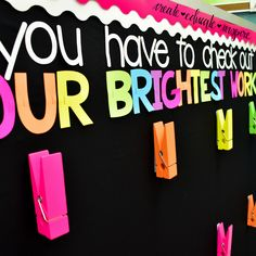 Bulletin Letters: OUR BRIGHTEST WORK Show off your students work with these bright bulletin letters! p Bulletin Letters OUR BRIGHTEST WORK Show off your students work with these bright bulletin letters ourbrightestwork bulletinboard p Elementary Bulletin Boards, Kindergarten Bulletin Boards, Classroom Board, Kindergarten Lesson Plans, Classroom Bulletin Boards, New Classroom, Classroom Setup, Classroom Displays, Kindergarten Classroom