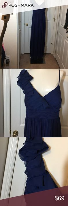 """DB STUDIO ROYAL BLUE FORMAL GOWN SZ 17 like NEW! Please excuse the fit on my mannequin!  This unique gown features one side with a spaghetti strap and the other side, cascading ruffles!  The gathered section under the bustline enhances your bust, and hides a lot of possible """"belly flaws."""" This dress was only worn once. DB Studio Dresses One Shoulder"""