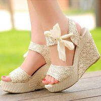 Envío gratis 2015 moda de señora dulce caramelo de tacón alto sólido plataforma de la cuña sandalias Bowknot tobillo Flip cordón de zapatos de correa