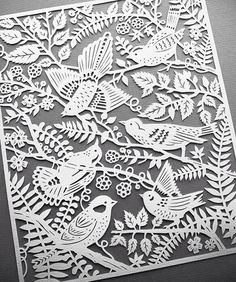 Wild Birds handcut paper illustration by Sarah Trumbauer. Giclee prints available on Etsy not origami but still paper Kirigami, Papercut Art, Neli Quilling, Quilled Roses, Quilling Comb, Paper Illustration, Bird Prints, Bird Art, Fine Art Paper