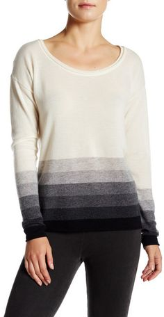 Three Dots Ombre Striped Cashmere Scoop Neck Sweater