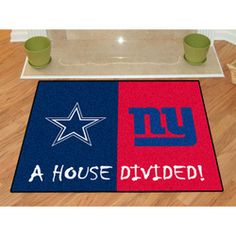 The Dallas Cowboys vs New York Giants house divided mat is a rivalry rug for families with 2 different favorite teams. 2 NFL team rugs in 1 celebrate the rivalry within your house.