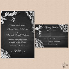 Hey, I found this really awesome Etsy listing at http://www.etsy.com/listing/157150335/lace-wedding-invitation-with-chalk