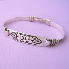 Celtic Shamrock Irish Cuff Bracelet