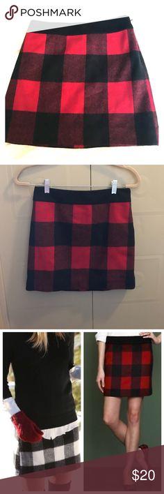 J. Crew buffalo plaid wool mini skirt, size 0 Used, great condition! Silky black inner lining J. Crew Skirts Mini