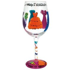 Always A Bridesmaid Wine Glass by Lolita®, bridesmaid gifts Fun Wine Glasses, Hand Painted Wine Glasses, Wine Glass Designs, Always A Bridesmaid, Bridesmaids, Bridesmaid Gifts, Wedding Glasses, Vibrant Colors, Wine Time