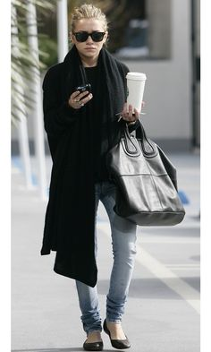 Ashley Olsen in a cool black casual look #style #fashion #mka #olsentwins #givenchy