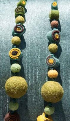 """32"""" Wool Felt Ball Necklace, Multi Colored, Wool Yarn String, Unique Signature Jewelry"""