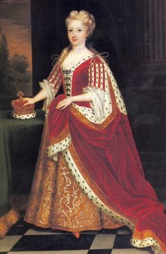 This 1716 Kneller portrait dates from  when Caroline of Ansbach was Princess of Wales. Caroline's dress closely resembles the dress of Queens Anne and Mary in previous royal portraits. Queen Caroline wears a curl above each eye in turn of the century style