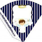 Cone Guloseimas Batizado Menino Azul Marinho e BrancoCone Guloseimas Batizado Menino Azul Marinho e Branco
