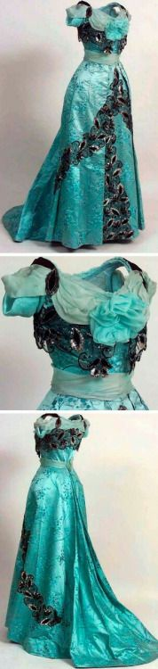 turquoise evening gown, 1901. Via the Norwegian Folk Museum.