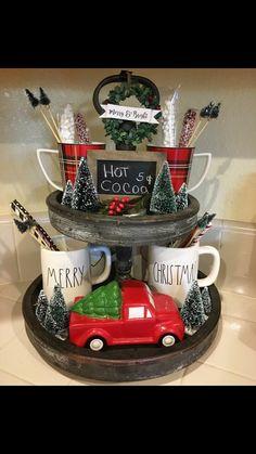 Hot Cocoa 3 tier tray for Christmas Christmas Hot Chocolate, Christmas Coffee, Plaid Christmas, Christmas Goodies, Cottage Christmas, Christmas Kitchen, Country Christmas, Christmas Home, Christmas Holidays