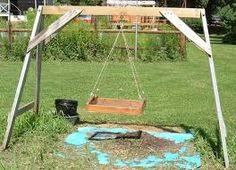 hanging garden soil sieve- make high enough to hand over wheelbarrel