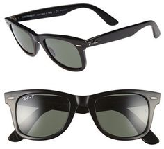 Men's Ray-Ban 'Classic Wayfarer' 50Mm Polarized Sunglasses - Black/ Green P