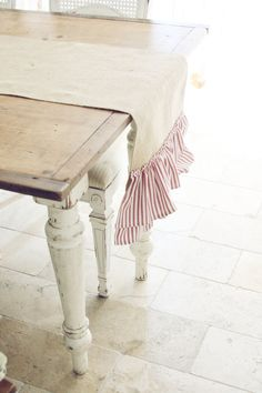 Handmade Burlap Table Runner with Red and White by blondiensc, $38.50