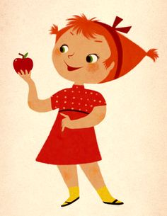 Apple Girl by Kyrstin Avello in the style of Mary Blair.