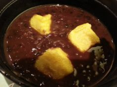 Yummy red bean paste soup dessert. Read here for more info: http://www.dessertromance.com/shimbashi-soba/#more-532