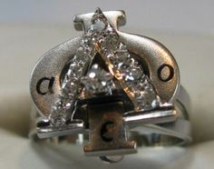 Alpha Phi Badge - White gold with all diamonds. This has a ring attachment,