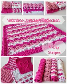 Five Little Monsters: Valentine Dishcloth Collection: #3 V-Day Stripes