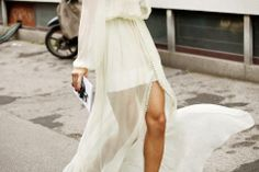 fashion weeks, maxi dresses, wedding styles, white, street styles, ivory, buttons, chiffon, fashion looks
