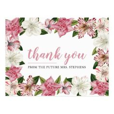 Pink |White Spring Vintage Floral Bridal Thank You Postcard - thank you gifts ideas diy thankyou