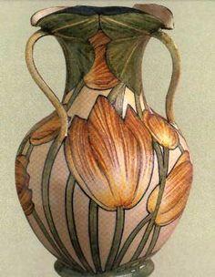 "Galileo Chini - ""Vaso con tulipani"", 1900. Galileo Chini is the famous Italian artist credited with introducing the art nouveau or Liberty style into Italy."
