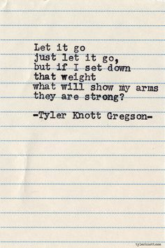 how will i show my strength if i just let it go? Typewriter Series #620 by Tyler Knott Gregson