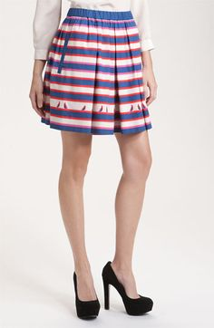 Pleated Stripe & Bird Skirt