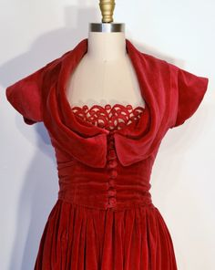 Vintage 1940s Dress 40s Evening Gown  by LizsVintageSoffitta, $148.00