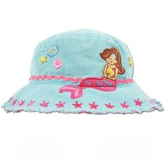 """Merry Mermaid Baby Sun Hat from Melondipity.com. With all the time you are going to spend with your baby girl at the beach and pool this summer, you will definitely want to make sure she is cool and sun protected! The bucket cap is baby blue with pink and yellow detailing. There is an adorable mermaid with a shell embroidered on the front. On the back of the hat there is an appliqued shell, heart and star with the words """"splish"""" and """"splash"""" embroidered in light pink. Price: $17.99"""