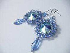 Beaded bezeled Rivoli Earrings light Blue. $36.00, via Etsy.