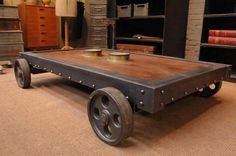 1930s Industrial Coffee table Garage, ideas, man cave, workshop, organization, organize, home, house, indoor, storage, woodwork, design, tool, mechanic, auto, shelving, car. #palletcoffeetables