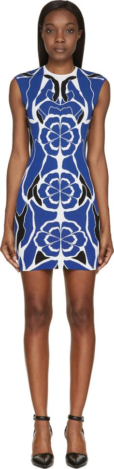 Alexander McQueen - Blue Stretch Knit Matisse Dress