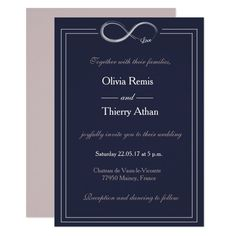 Shop Infinity sign unique navy blue white blush wedding invitation created by Personalize it with photos & text or purchase as is! Sunflower Wedding Invitations, Burgundy Wedding Invitations, Wedding Shower Invitations, Destination Wedding Invitations, Watercolor Wedding Invitations, Elegant Modern Wedding, Infinity Wedding, Geometric Wedding, Blue And White
