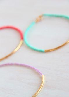 stackable gold dipper bar bracelets