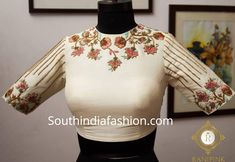 Latest Maggam Work Blouse Designs by Ranipink Studio! – South India Fashion Latest Maggam Work Blouse Designs by Ranipink Studio! Blouse Designs High Neck, Hand Work Blouse Design, Stylish Blouse Design, Designer Blouse Patterns, Fancy Blouse Designs, Bridal Blouse Designs, Latest Maggam Work Blouses, Indie Mode, Kurti Designs Party Wear