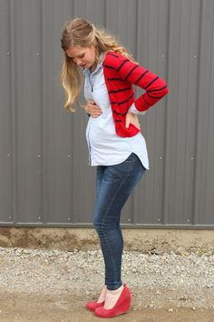 not that I'm pregnant but so cute! chambray and red Spring maternity style via Laughing Latte