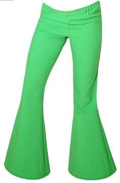 Hippie Pantaloni a zampa BEAT donna verde giovane moda anni 70 figlie dei fiori invenzione spettacolo della zampa di elefante che allunga le gambe fasciate fino in vita Gabardine 100% polyester