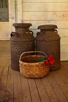 Antique Milk Cans Canvas Print / Canvas Art by Carmen Del Valle Antique Milk Can, Vintage Milk Can, Old Milk Cans, Milk Jugs, Pots, Old Farm, Outdoor Living, Outdoor Decor, Outdoor Life