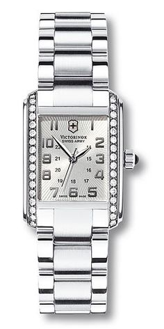Vivante 241186 - Small Rectangle Silver Dial With Diamond Bezel - Stainless Steel Bracelet Vivante 241186 - Small Rectangle Silver Dial With Diamond Bezel - Stainless Steel Bracelet