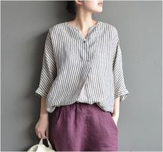 Stripe linen cotton v-neck loose literary fan turtleneck shirt short  sleeves summer top Camicie e6681451ed5